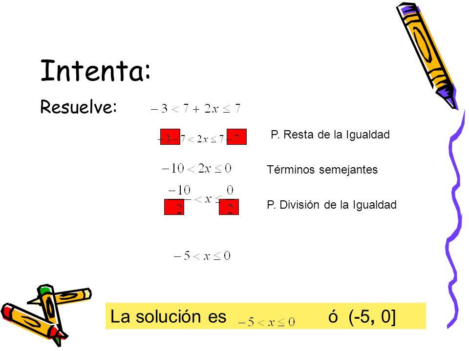 Intenta: Resuelve: La solución es ó (-5, 0] P. Resta de la Igualdad